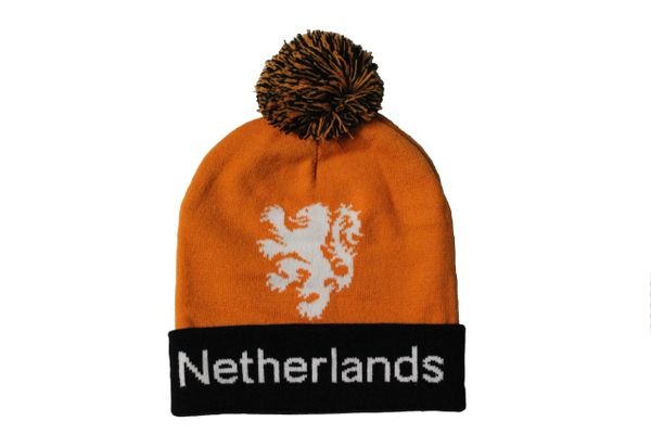 NETHERLANDS TITLE , KNVB Logo TOQUE HAT With POM POM