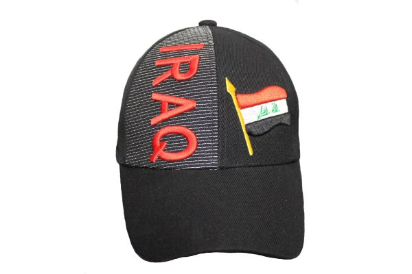 IRAQ Black COUNTRY FLAG EMBROIDERED HAT CAP