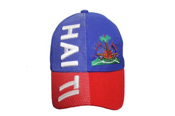 HAITI Blue Red Country Flag EMBROIDERED HAT CAP