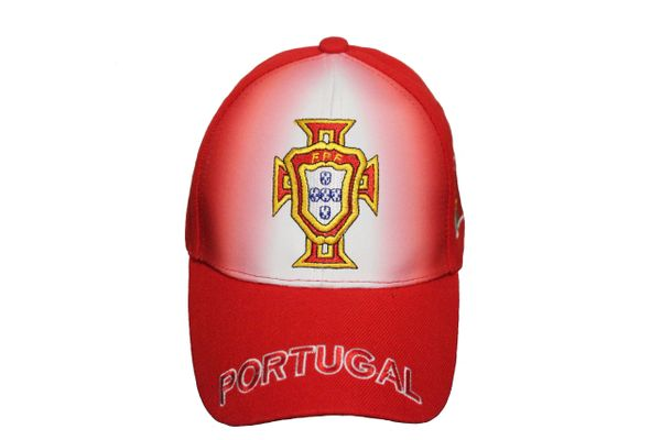 PORTUGAL Red White FPF Logo FIFA World Cup EMBROIDERED HAT CAP