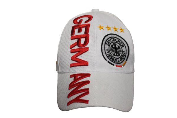 GERMANY White 4 Stars DEUTSCHER FUSSBALL - BUND Logo FIFA World Cup EMBOSSED HAT CAP