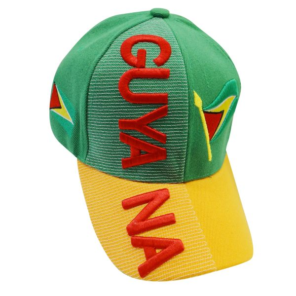 GUYANA YELLOW GREEN COUNTRY FLAG EMBOSSED HAT CAP .. NEW