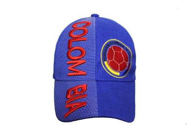 COLOMBIA Blue FEDERACION COLOMBIANA DE FUTBOL Logo FIFA WORLD CUP EMBOSSED HAT CAP
