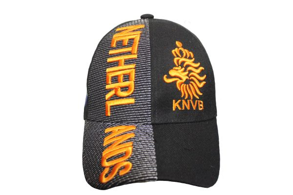 NETHERLANDS Black KNVB Logo FIFA World Cup EMBOSSED HAT CAP