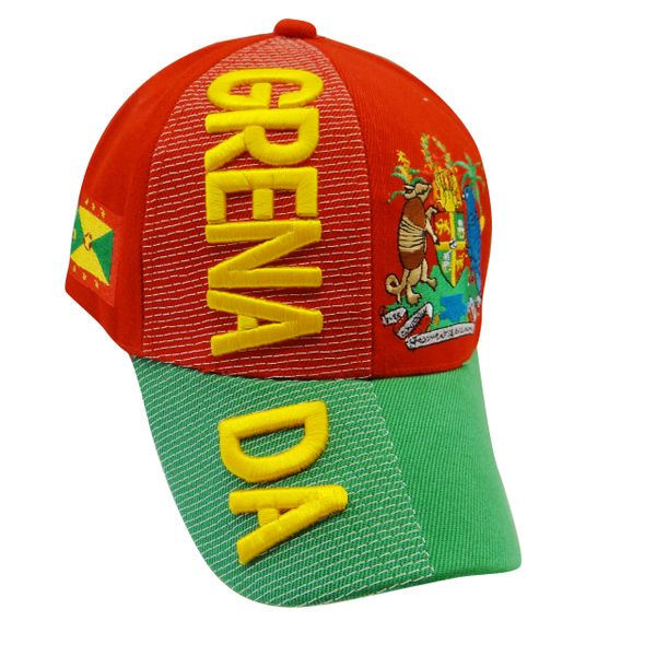 GRENADA RED GREEN COUNTRY FLAG WITH PICTURE EMBOSSED HAT CAP .. NEW