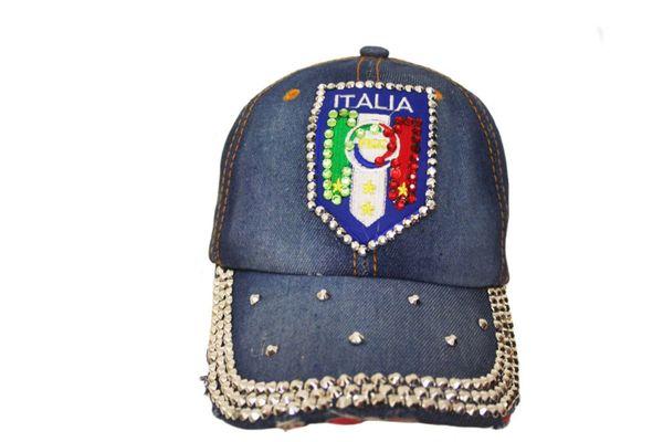 ITALIA ITALY FIGC Logo DENIM RHINESTONE EMBOSSED HAT CAP