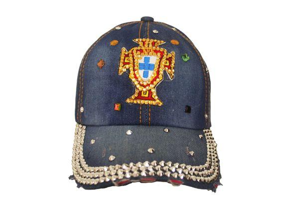 PORTUGAL FPF Logo DENIM RHINESTONE EMBOSSED HAT CAP