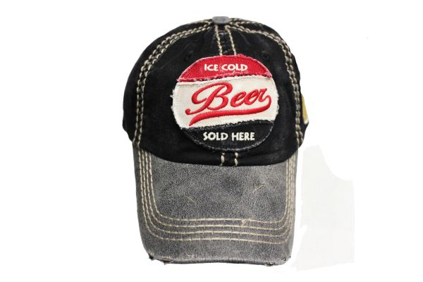 ICE COLD BEER SOLD HERE Black Stone - Washed Worn Look VINTAGE HAT CAP