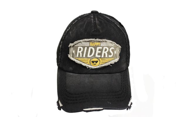 HAPPY RIDERS Black Stone - Washed Worn Look VINTAGE HAT CAP