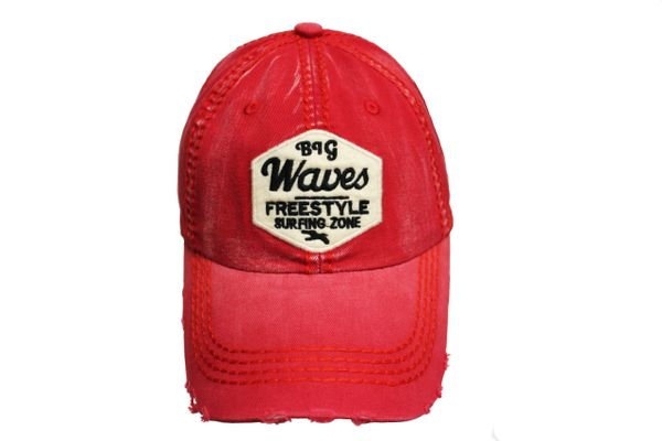BIG WAVES FREESTYLE SURFING ZONE Red Stone - Washed Worn Look VINTAGE HAT CAP