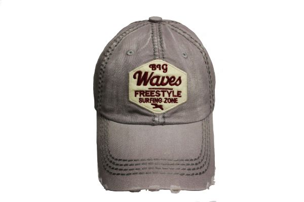 BIG WAVES FREESTYLE SURFING ZONE LightGrey Stone - Washed Worn Look VINTAGE HAT CAP