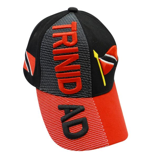 TRINIDAD BLACK RED COUNTRY FLAG EMBOSSED HAT CAP .. NEW