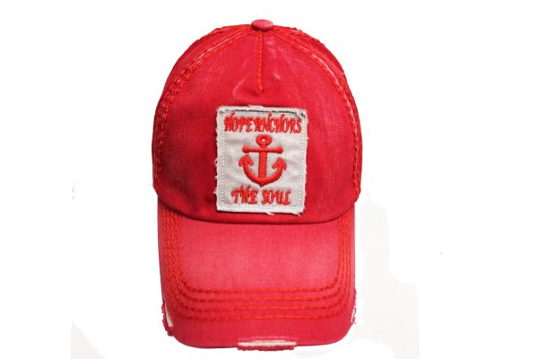 HOPE ANCHORS THE SOUL Red Stone - Washed Worn Look VINTAGE HAT CAP