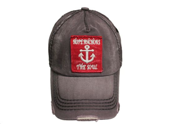 HOPE ANCHORS THE SOUL DarkGrey Stone - Washed Worn Look VINTAGE HAT CAP