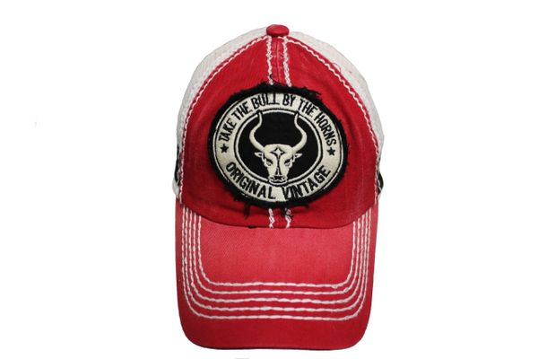 TAKE THE BULL BY THE HORNS Red Stone - Washed VINTAGE TRUCKER HAT CAP