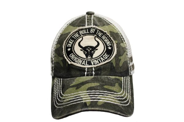 TAKE THE BULL BY THE HORNS Camouflage Stone - Washed VINTAGE TRUCKER HAT CAP