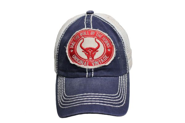 TAKE THE BULL BY THE HORNS Navy Stone - Washed VINTAGE TRUCKER HAT CAP