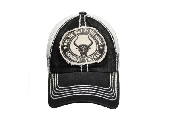 TAKE THE BULL BY THE HORNS Black Stone - Washed VINTAGE TRUCKER HAT CAP