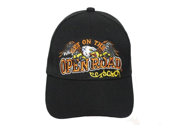 GET ON THE OPEN ROAD Black Embroidered HAT CAP With Velcro Strap For Adjustment