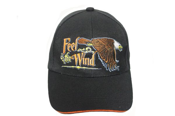 FEEL THE WIND FLYING EAGLE Black Embroidered HAT CAP With Velcro Strap For Adjustment.