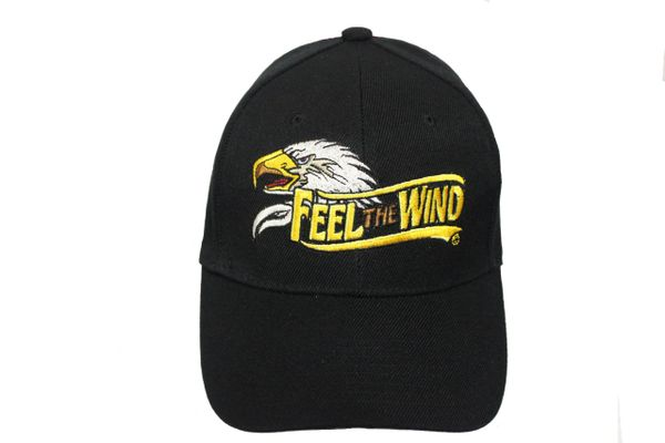 FEEL THE WIND EAGLE' HEAD Black Embroidered HAT CAP With Velcro Strap For Adjustment
