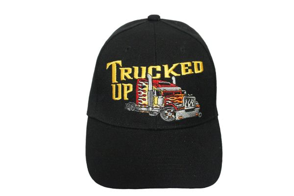 TRUCK UP Black Embroidered HAT CAP With Velcro Strap For Adjustment.