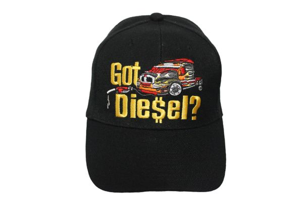 GOT DIESEL? Black Embroidered HAT CAP With Velcro Strap For Adjustment