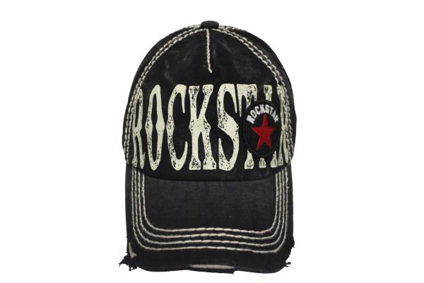 ROCKSTAR Stone - Washed Worn Look VINTAGE HAT CAP.. KBETHOS..Color : Black , Royal Blue, Burgundy