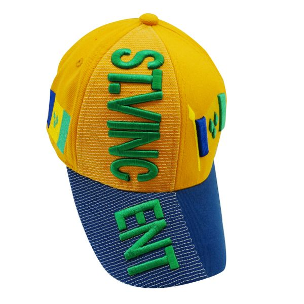 ST. VINCENT YELLOW BLUE COUNTRY FLAG EMBOSSED HAT CAP .. NEW