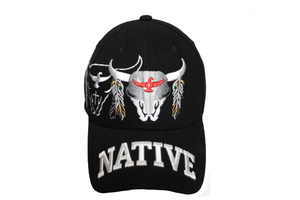 NATIVE BLACK WITH PICTURE EMBOSSED HAT CAP .. NEW