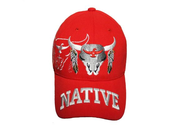 NATIVE RED WITH PICTURE EMBOSSED HAT CAP .. NEW