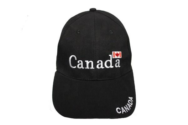 "CANADA BLACK WITH WORD ""CANADA"" & FLAG ON BRIM EMBOSSED HAT CAP .. NEW"