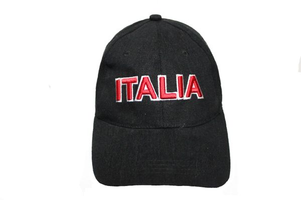 ITALIA BLACK EMBOSSED HAT CAP .. NEW