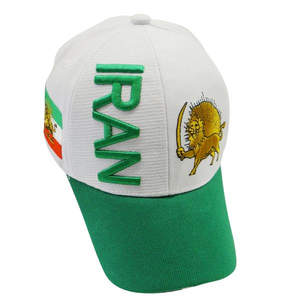 IRAN GREEN WHITE COUNTRY FLAG WITH LION EMBOSSED HAT CAP .. NEW