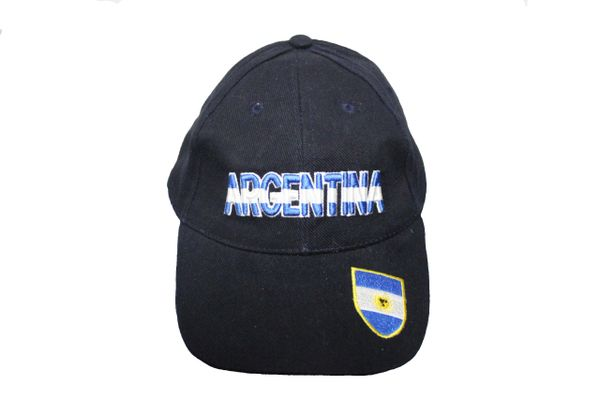 ARGENTINA BLACK HAT CAP WITH BLUE AND WHITE PRINT AND ARGENTINA FLAG...NEW