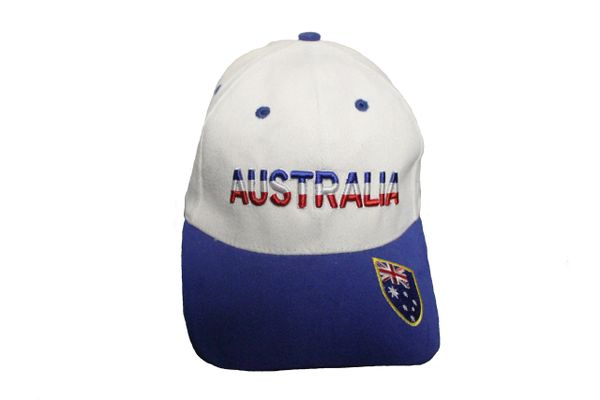 AUSTRALIA WHITE AND BLUE HAT AND CAP WITH PRINT AND FLAG