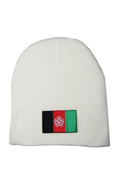 Afghanistan Country Flag Beanie Knitted Toque WHITE HAT CAP..... NEW