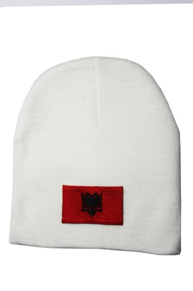 Albania Country Flag Beanie Knitted Toque WHITE HAT CAP... NEW