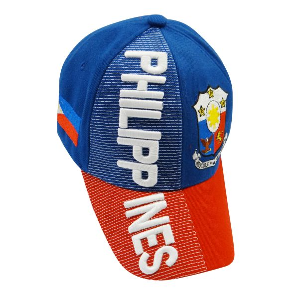 PHILIPPINES BLUE RED COUNTRY FLAG WITH PICTURE EMBOSSED HAT CAP .. NEW