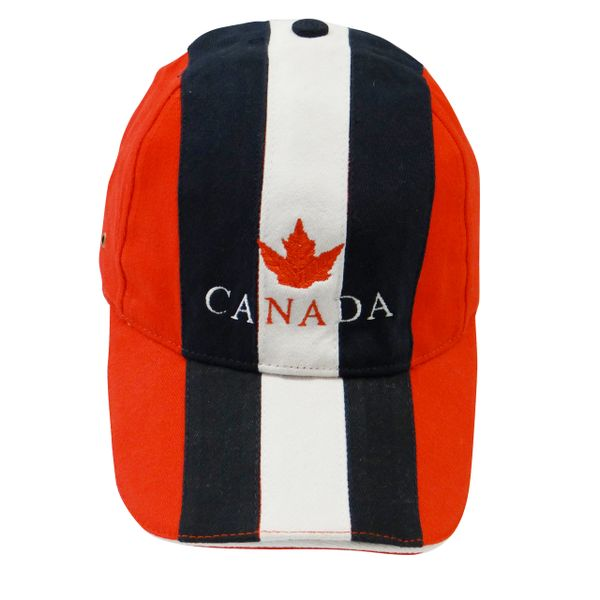 "CANADA RED WITH COLORED STRIPES WITH WORD ""CANADA"" & RED MAPLE LEAF EMBOSSED HAT CAP .. NEW"