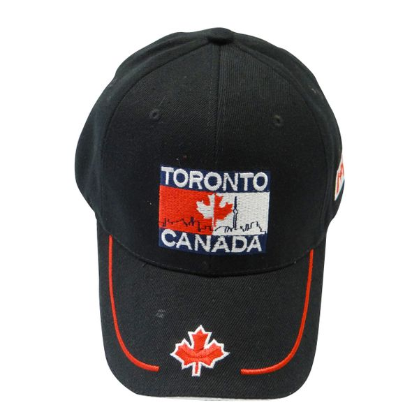 TORONTO - CANADA BLACK COUNTRY FLAG WITH MAPLE LEAF ON BRIM EMBOSSED HAT CAP .. NEW