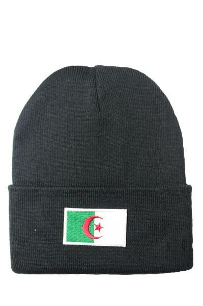 Algeria Country Flag BRIM Knitted Toque HAT CAP choose your color. BLACK,PINK, WHITE... NEW
