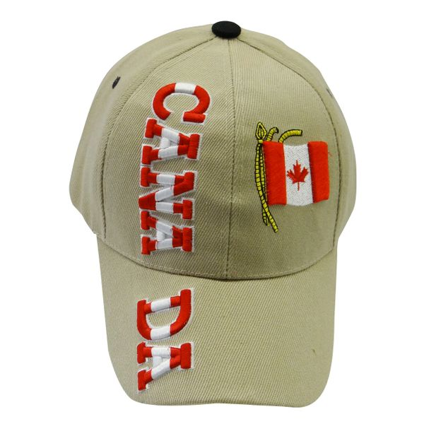 """CANADA BEIGE COUNTRY FLAG WITH WORD """"CANADA"""" EMBOSSED HAT CAP .. NEW"""