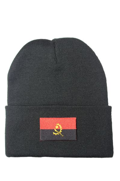 Angola Country Flag BRIM Knitted Toque HAT CAP choose your color. BLACK, WHITE, PINK, RED... NEW
