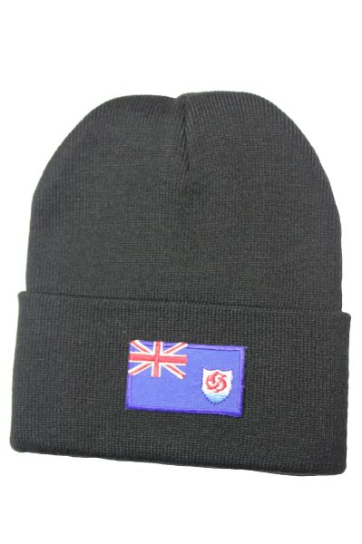 Anguilla Country Flag BRIM Knitted Toque HAT CAP choose your color BLACK, PINK, BLUE... NEW