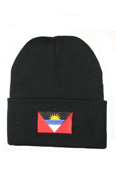 Antigua and Barbuda Country Flag BRIM Knitted HAT CAP choose your color BLACK, WHITE, RED, PINK... NEW