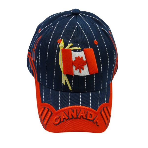 "CANADA BLUE RED COUNTRY FLAG WITH WORD ""CANADA"" ON BRIM EMBOSSED HAT .. NEW"