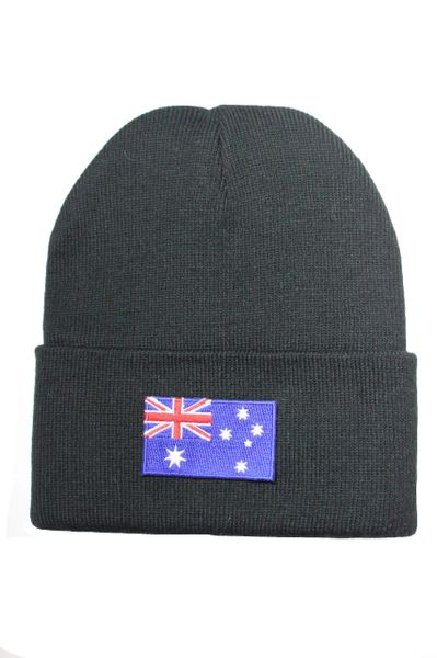 AUSTRALIA Country Flag BRIM Knitted HAT choose your color CAP BLACK, WHITE, RED, PINK, BLUE... NEW