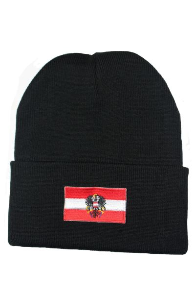 AUSTRIA (with EAGLE) Country Flag BRIM Knitted HAT choose your color CAP BLACK, WHITE, RED, PINK, BLUE... NEW