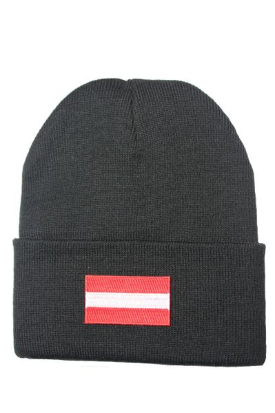 AUSTRIA ( plain ) Country Flag BRIM Knitted HAT choose your color CAP BLACK, WHITE, RED, PINK, BLUE... NEW